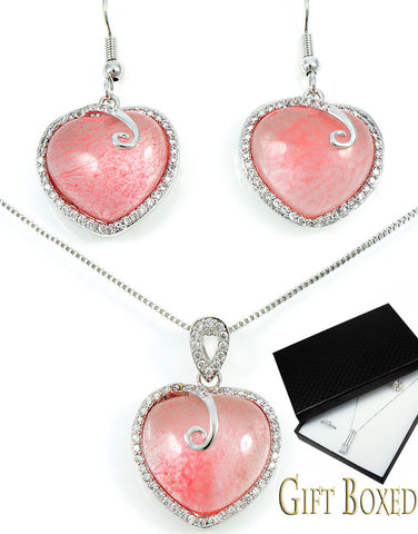 Pink Stone Heart Jewelry Set