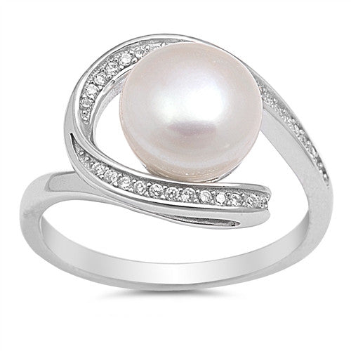 Natural Pearl Sterling Silver Swirl Ring