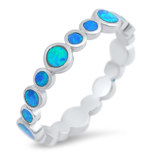 Blue Lab Opal Ring With 925 Sterling Silver Band