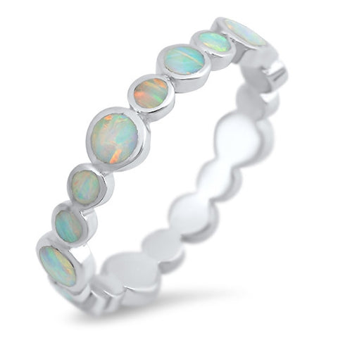 White Lab Opal Ring With 925 Sterling Silver Band