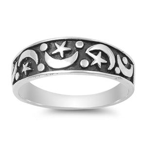 Celestial Sterling Silver Ring Band