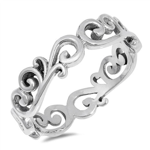 Swirl 925 Sterling Silver Band Ring