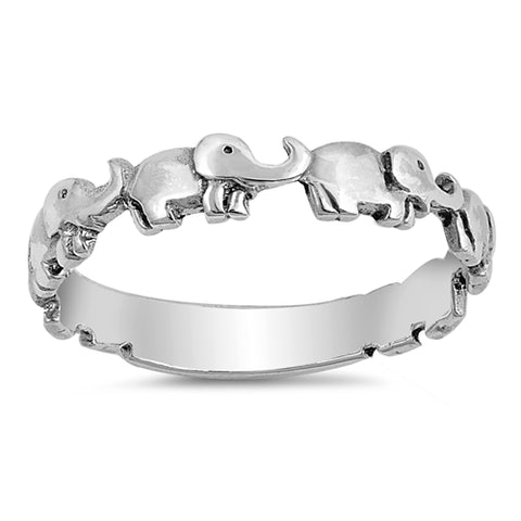 Elephant Sterling Silver Ring Band
