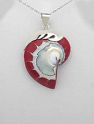 Sterling Silver Wave Red Nautilus Sea Shell Pendant, Chain