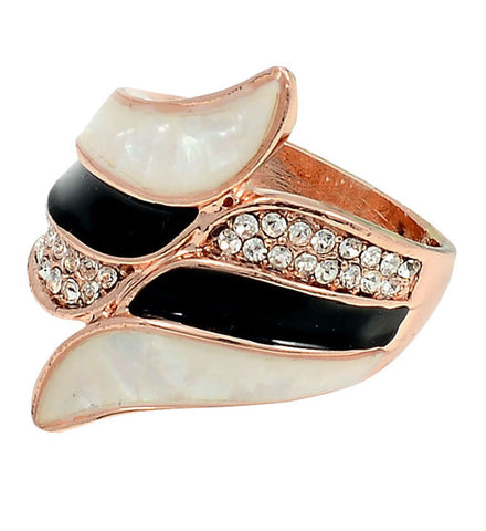 Ring, 18K Rose Gold, Inlaid, Dragonfly Signature Collection