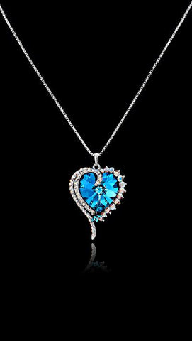 Swarovski Crystal Capri Blue Valentine Heart Necklace