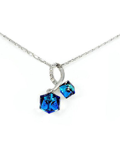 "Swarovski Crystal Twin Capri Blue Cube 16""-18"" Necklace"