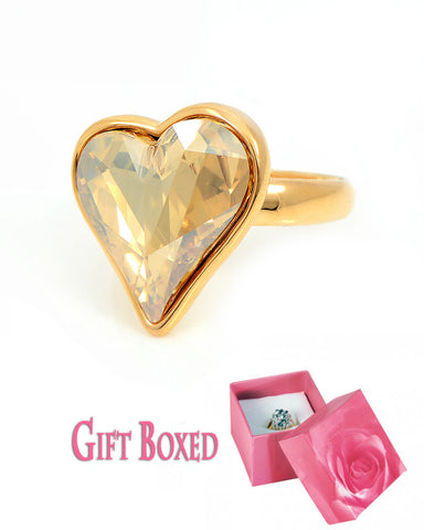 Exquisite Champagne Swarovski Heart Ring