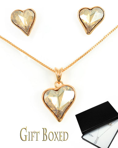 Exquisite Champagne Swarovski Heart Jewelry Set