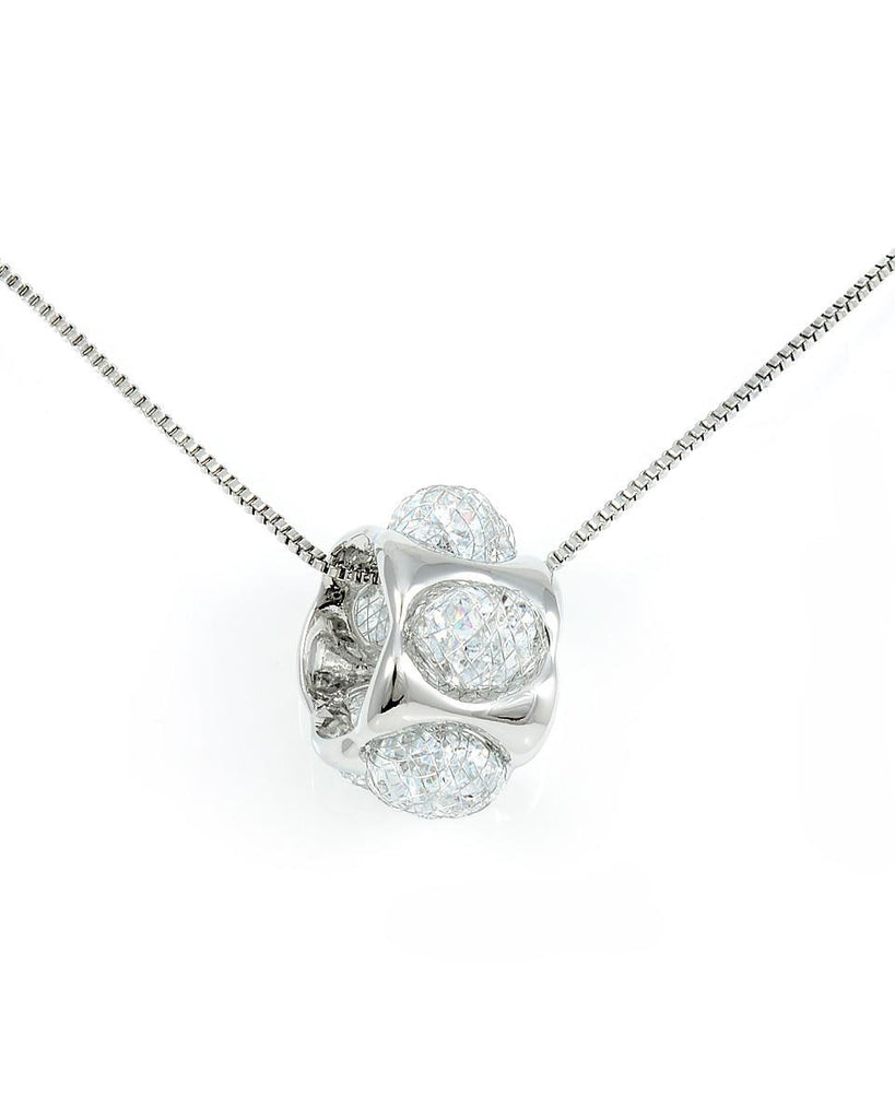 18K White Gold Tumbler Necklace filled with CZ