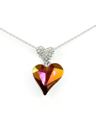 Swarovski Crystal Twin Heart Necklace, Amethyst