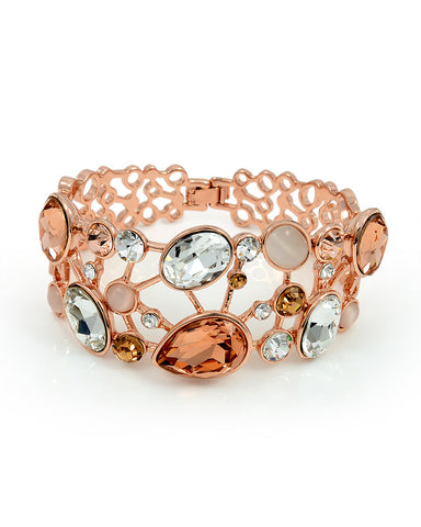 Swarovski Elements 18K Rose Gold Plated Bangle Bracelet