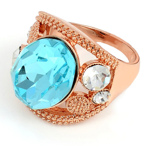 18K Rose Gold Ring, Aquamarine Crystal, Size 6