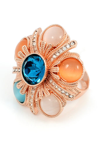 18K Rose Gold, Austrian Crystal, Cat's Eye Ring