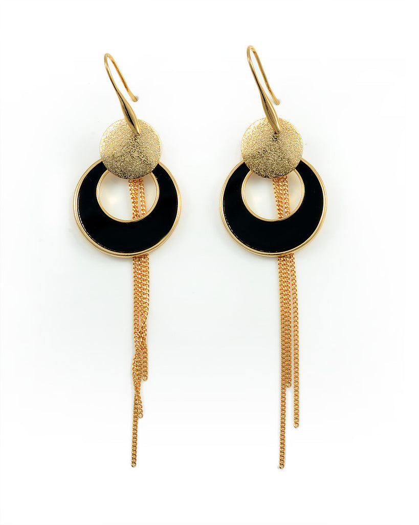 18K Gold Earrings, Manhatten Dangle