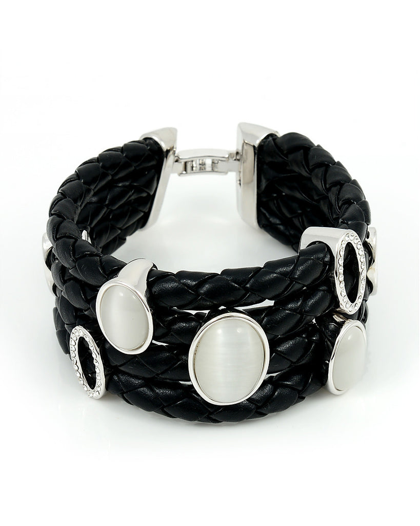 Black Leather Bracelet, Large Silver Charms
