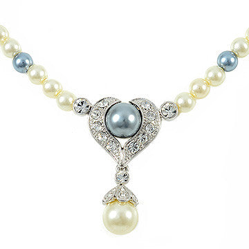 Designer Venetian Pearl Crystal Heart Necklace