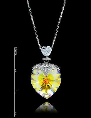 Swarovski Crystal Yellow Small Heart Necklace