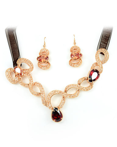 18K Rose Gold Swarovski Crystal Jewelry Set