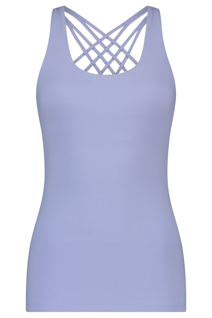Gravity Strappy Tank Top with Bra | Light Blue Aquamarine