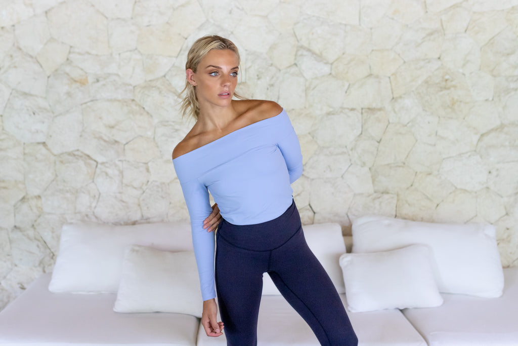 Gravity Off-Shoulder Top | Light Blue Aquamarine