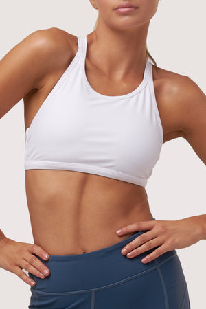 Half Moon Sports Bra | Pure White Topaz