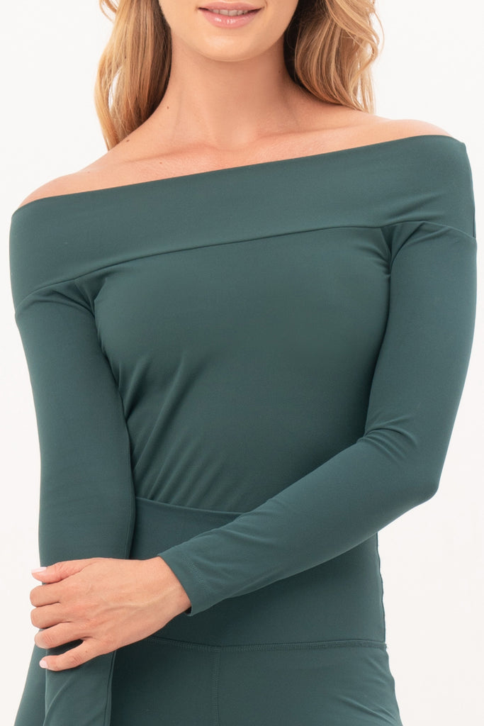Gravity Off-Shoulder Top | Emerald Green