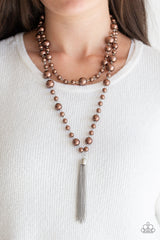 Social Hour Paparazzi Accessories Brown Necklace with Earrings