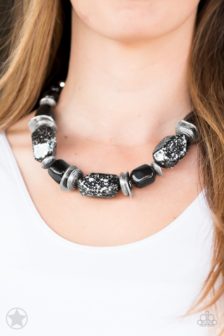 Best Seller!! Black Glazes Necklace with Earrings