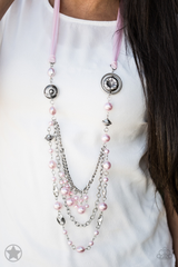Best Seller!! All The Trimmings Pink Necklace with Earrings