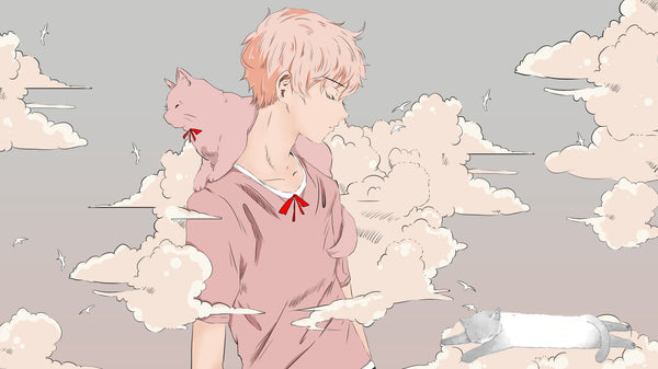 Male with pink cat anime