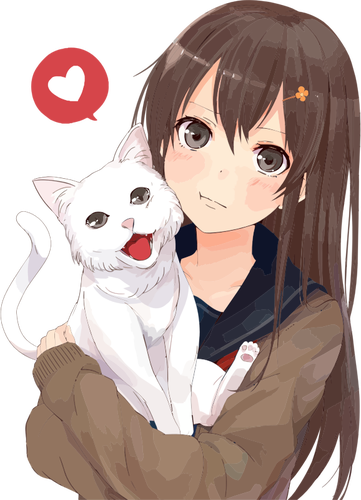 Anime girl with white cat and heart