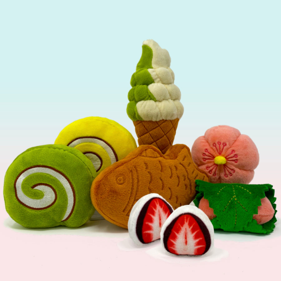 Wagashi Japanese Snacks, 7pc Set with Organic Catnip