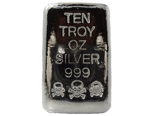 10 troy oz .999 fine silver bullion hand poured Skull and Crossbones loaf bar