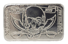 10 troy oz .999 fine silver bullion hand poured, limited-edition Pirate loaf bar