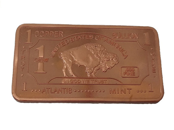 Copper 1 Troy Oz 999 Fine Copper Buffalo Bullion Bar
