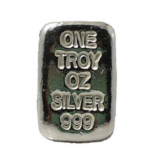 1 troy oz .999 fine silver bullion generic hand poured bar