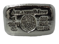 1 troy oz .999 fine silver Lion hand poured bar
