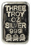 3 troy oz .999 fine silver skull-and-bones hand poured loaf bar