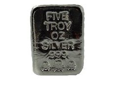 5 troy oz .999 fine silver bullion Skull and Crossbones hand poured loaf bar