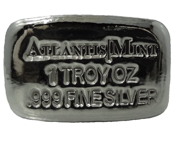 1 troy oz .999 fine silver bullion Atlantis Mint hand poured loaf bar