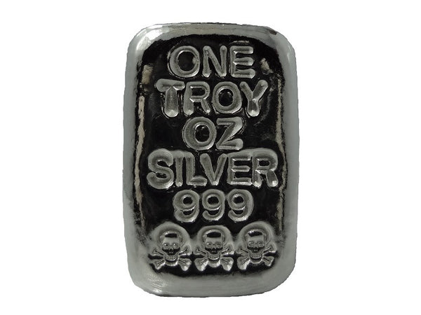 1 Troy Oz 999 Fine Silver Bullion Hand Poured Skull And