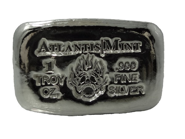 1 troy oz .999 fine silver bullion Skull and Flame hand poured loaf bar