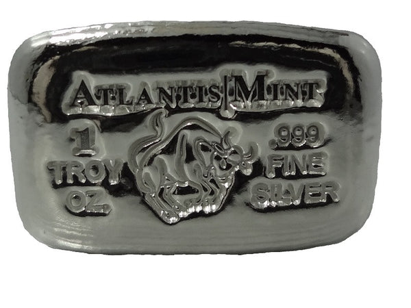 1 troy oz .999 fine silver Taurus hand poured bullion bar