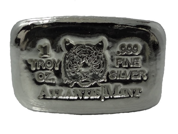 1 Troy Oz 999 Fine Silver Bullion Tiger Hand Poured Loaf