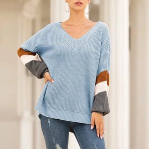 Casual Long Puff Sleeve V Neck Women Sweater (4369646256268)