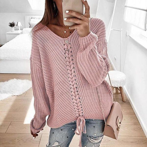 Women Loose V Neck Long Sleeve Sweaters (4369645994124)