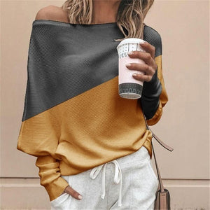 Fashion Off Shoulder Stitching Sweater Bat Sleeves (4369718214796)