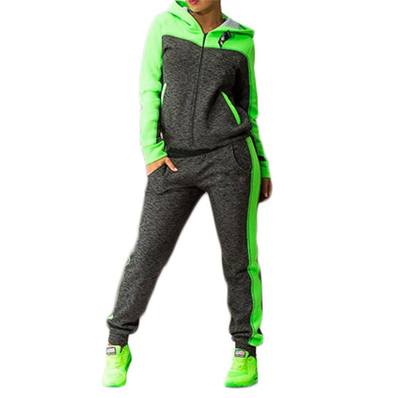 Color Block Hooded Outfits Two Piece Set (4369741054092)