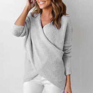 Women Solid Fashion V Neck Sweater (4369713037452)